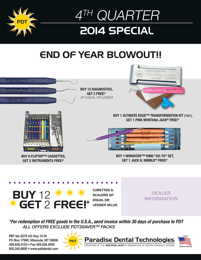 PDT Dental Product Special - 2014 4th Quarter